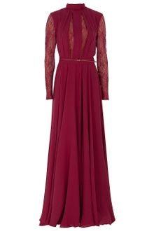 Elie Saab Lace Insert Long Sleeved Gown - Lyst