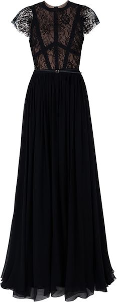 Elie Saab Cap Sleeve Lace Body Gown in Red - Lyst