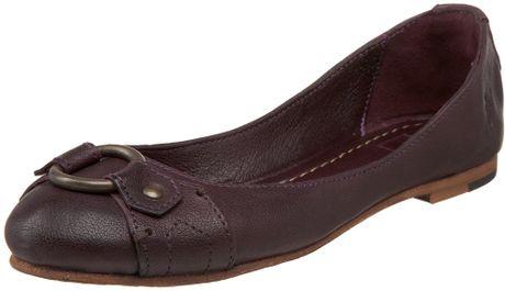 Frye Carson Harness Ballet Flat in Purple (eggplant)