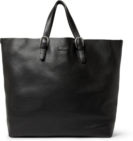 Gucci Full Grain Leather Tote Bag in Black for Men - Lyst