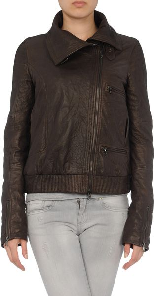 Hussein Chalayan Leather Outerwear in Brown - Lyst