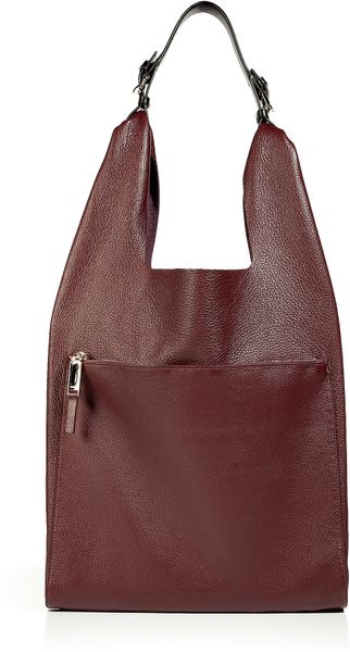 Jil Sander Burgundy Calf Leather Shoulder Bag in Brown (burgundy) - Lyst