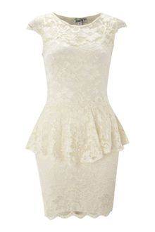John Zack Lace Dress with Peplum Waist - Lyst