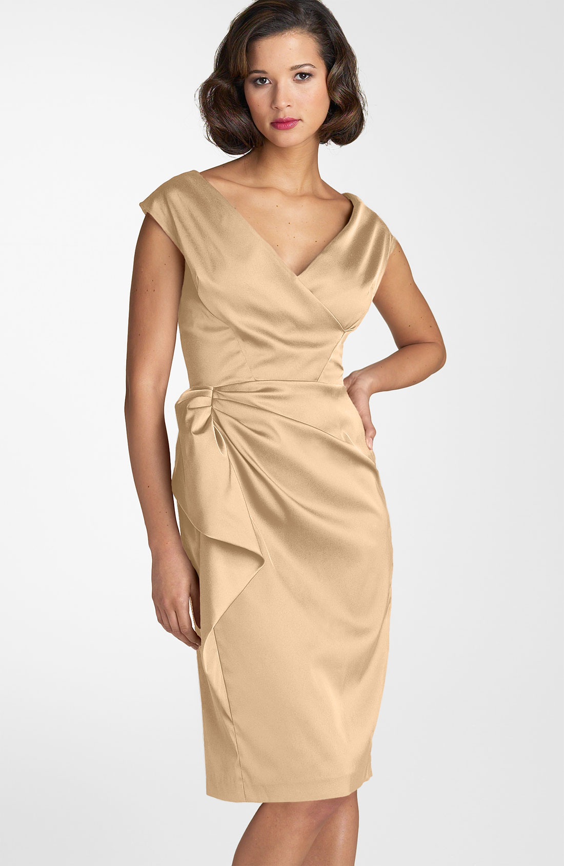 Maggy London Stretch Satin Sheath Dress In Beige Opal Lyst