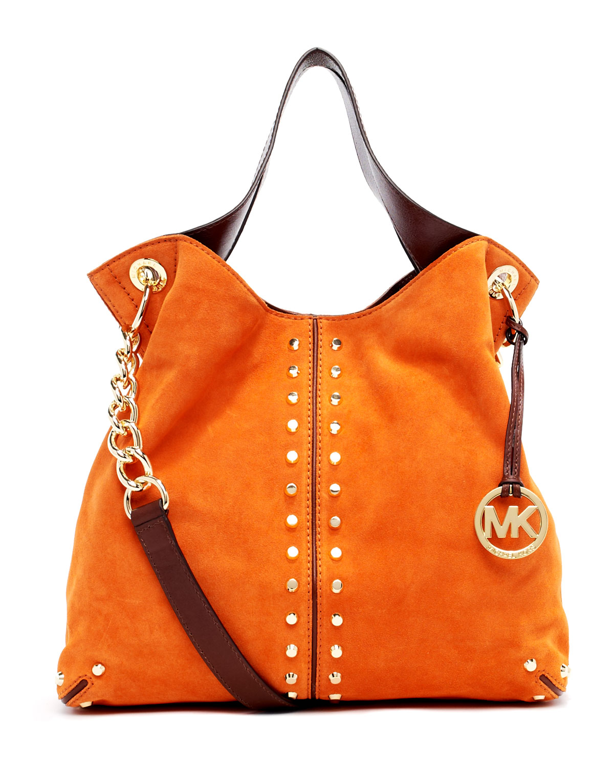 94edc9ad58a2 ... low price lyst michael kors uptown astor large shoulder tote in orange  3e386 033b4