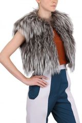 Riis Silver Fox Fur On Felted Wool Vest - Lyst