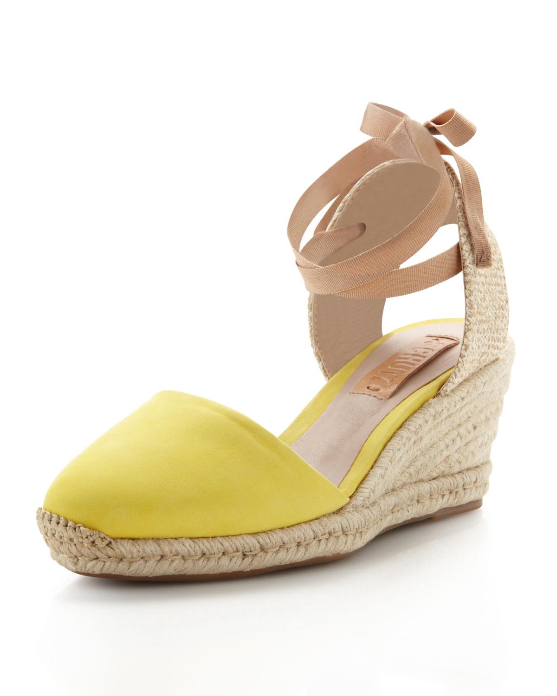 Schutz Suede Anklewrap Espadrille Wedge Yellow In Yellow