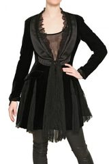 Worth Silk Satin Lace Viscose Velvet Coat - Lyst