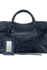 Balenciaga Classic City Suede Bag in Blue (blue grey) - Lyst