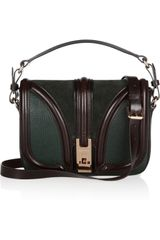 Burberry Texturedleather and Suede Shoulder Bag in Green (forest) - Lyst