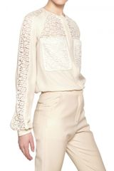 Chloé Cotton Lace Envers Satin Shirt - Lyst