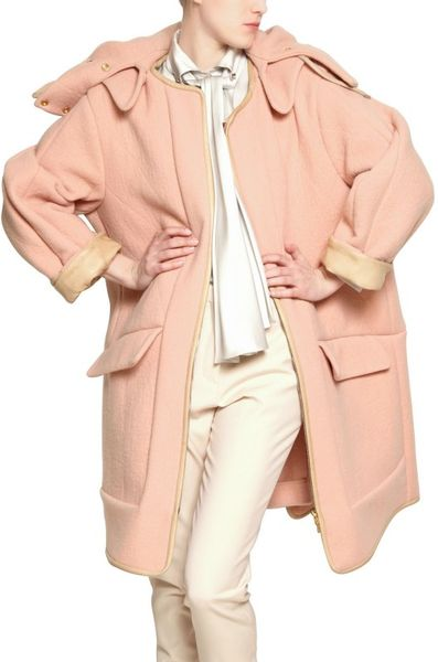 Chloé Quilted Face Angora Coat with Nappa Trim in Pink - Lyst