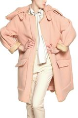 Chloé Quilted Face Angora Coat with Nappa Trim