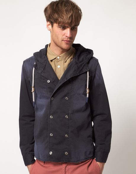Diesel Spica Double Breasted Hooded Jacket in Blue for Men - Lyst