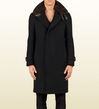 Gucci Peacoat with Detachable Shearling Collar - Lyst