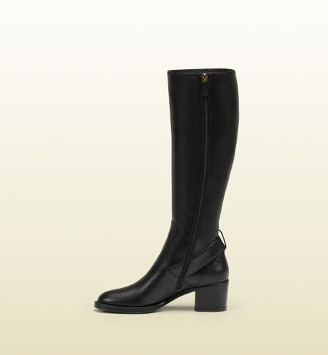 gucci stirrup low heel leather boot in black lyst