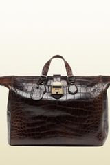 Gucci Goldmark Crocodile Duffle Bag - Lyst