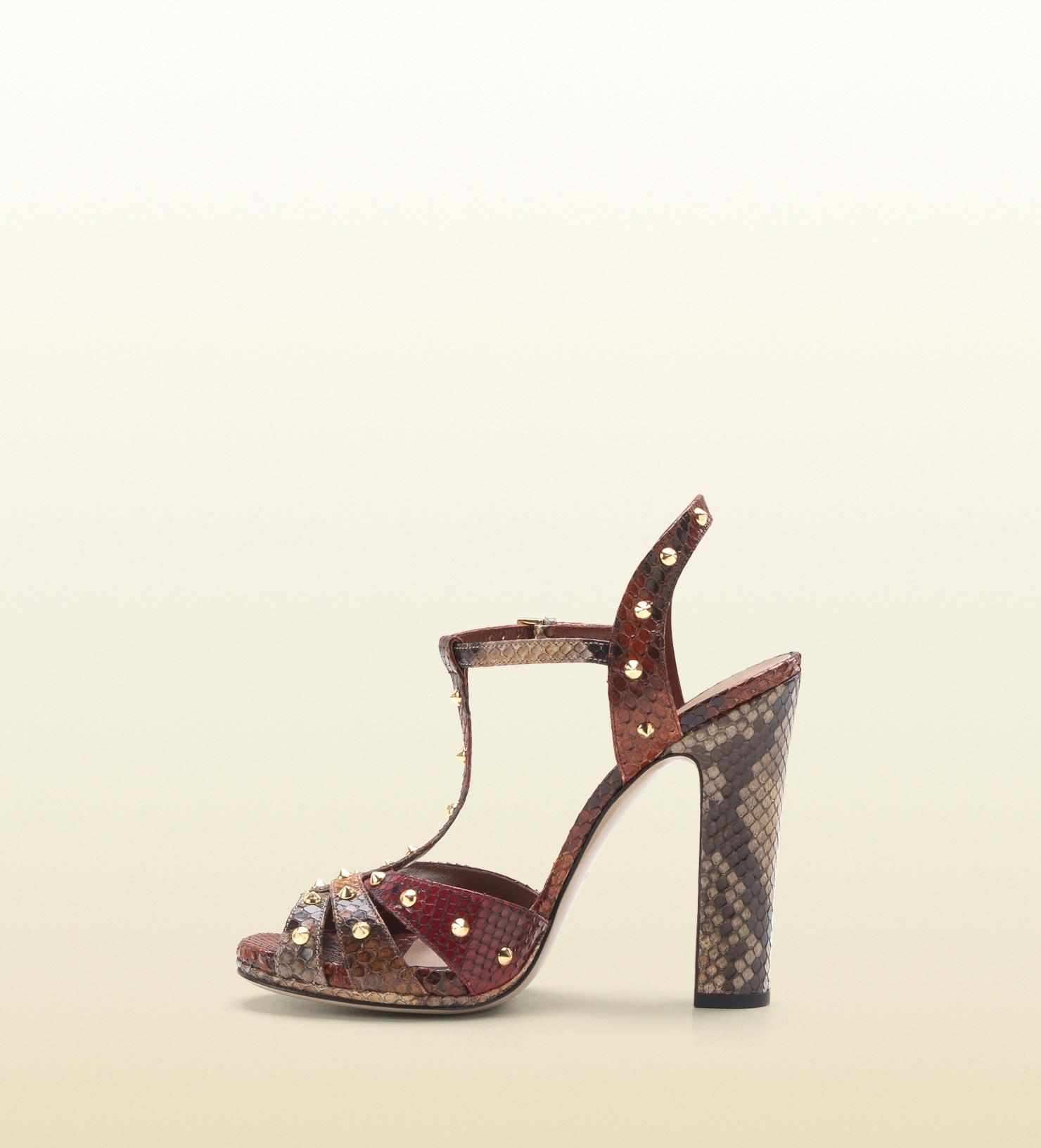 1ee6548cd8 Lyst - Gucci Jacquelyne Studded Strappy High Heel Platform Sandal in ...