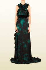 Gucci Silk Georgette Sleeveless Gown with Pleated Ruffles - Lyst