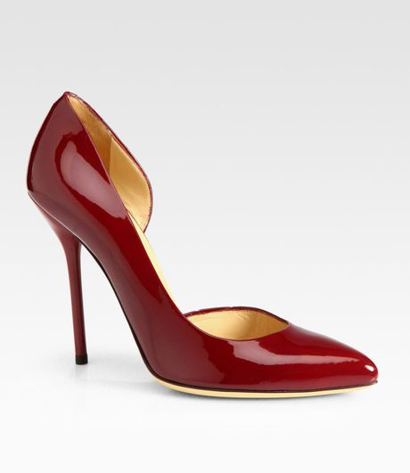 Gucci Noah Patent Leather Dorsay Pumps in Red (scarlet) - Lyst
