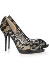 Jimmy Choo Belgio Lace and Patent Leather Pumps - Lyst