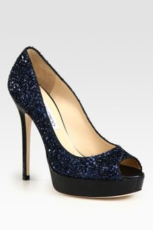 Jimmy Choo Crown Glitter And Leather Platform Pumps - Lyst