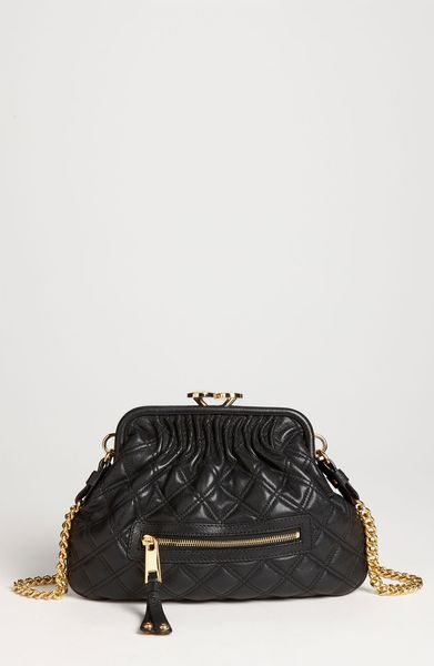 Marc Jacobs Little Stam Leather Crossbody Bag in Black (black/ brass) - Lyst