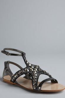 Miu Miu  Crystal and Glitter Patent Leather Gladiator Sandals - Lyst