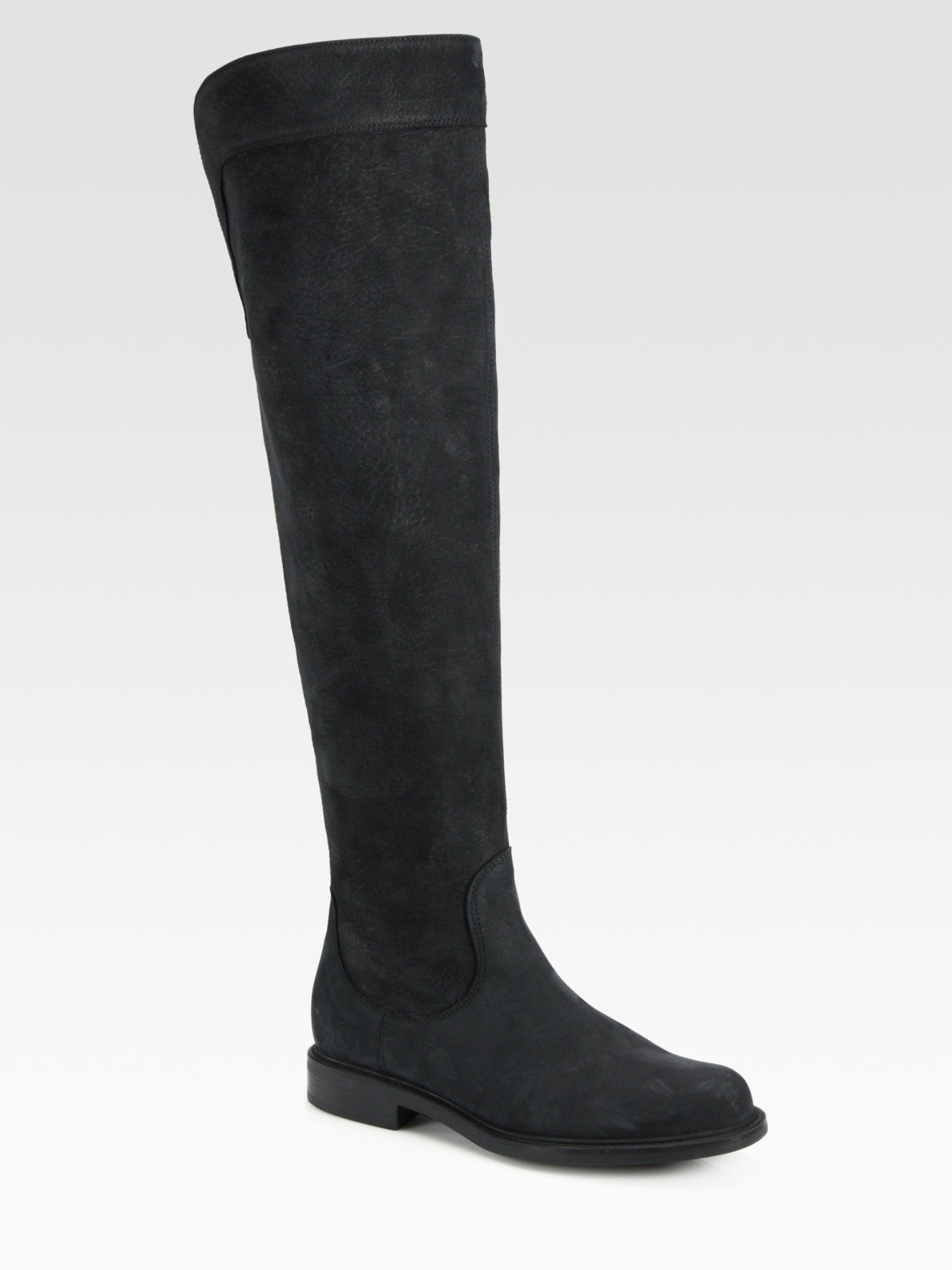 pollini suede the knee flat boots in black lyst