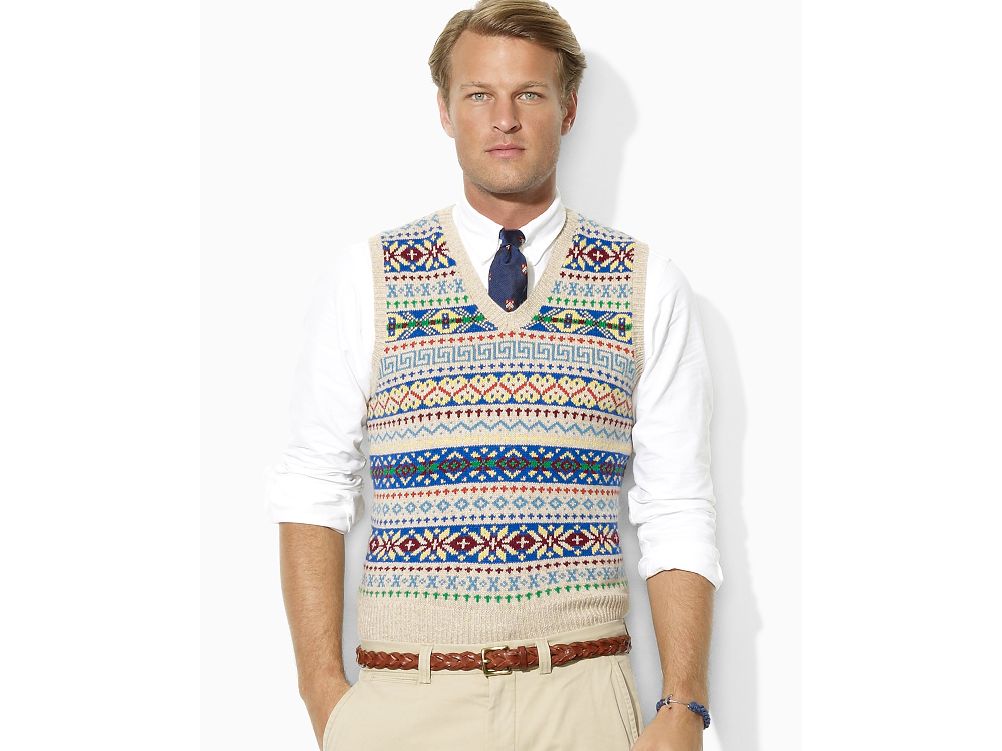 Polo ralph lauren Fair Isle Vneck Sweater Vest for Men | Lyst