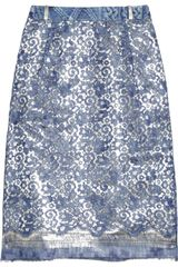 Preen Eva Metallic Cottonblend and Lace Skirt - Lyst