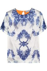 Preen Rosemary Printed Silksatin Top