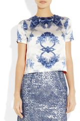 Preen Rosemary Printed Silksatin Top in White - Lyst