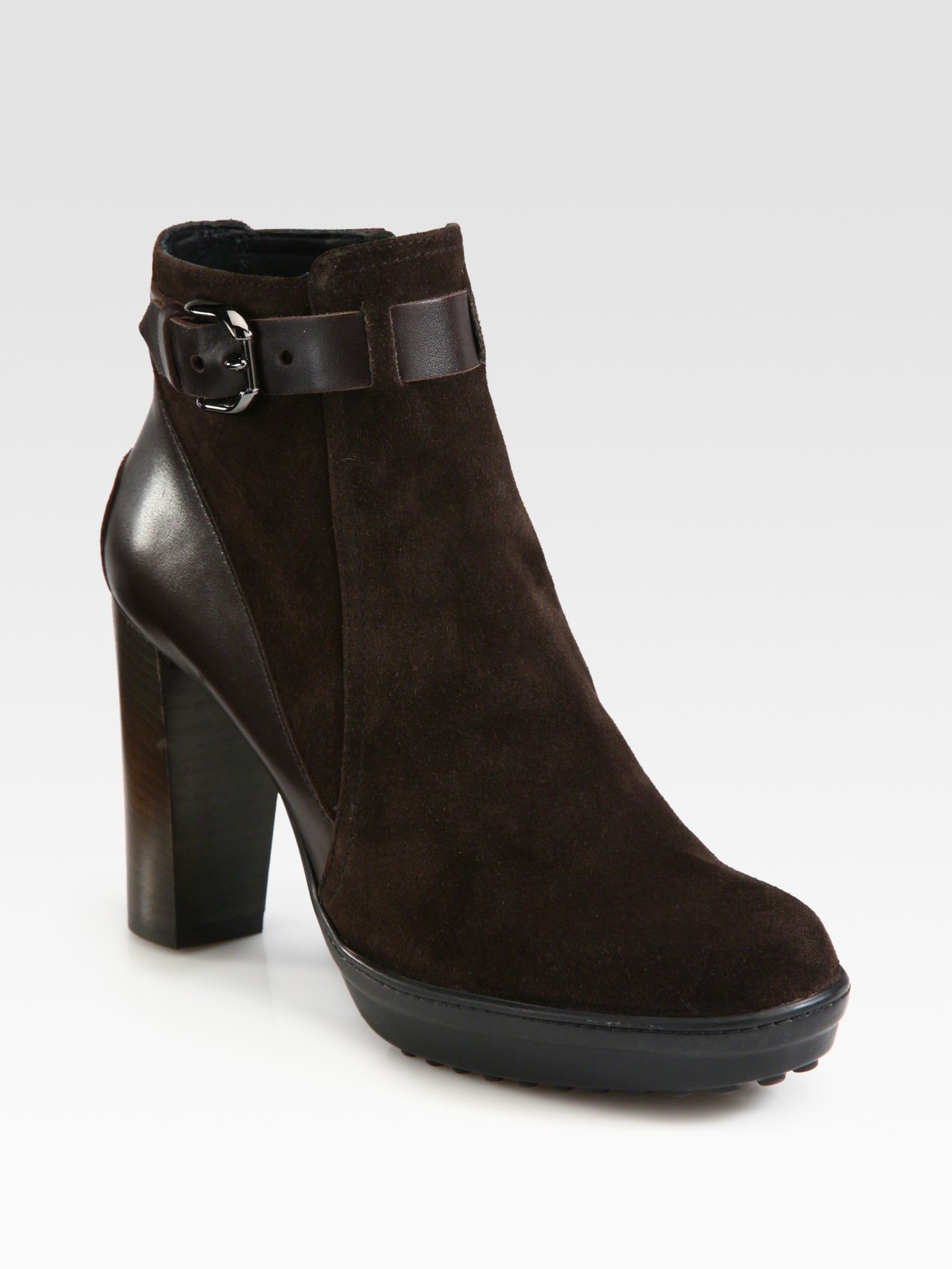 tod s suede and leather platform ankle boots in brown lyst