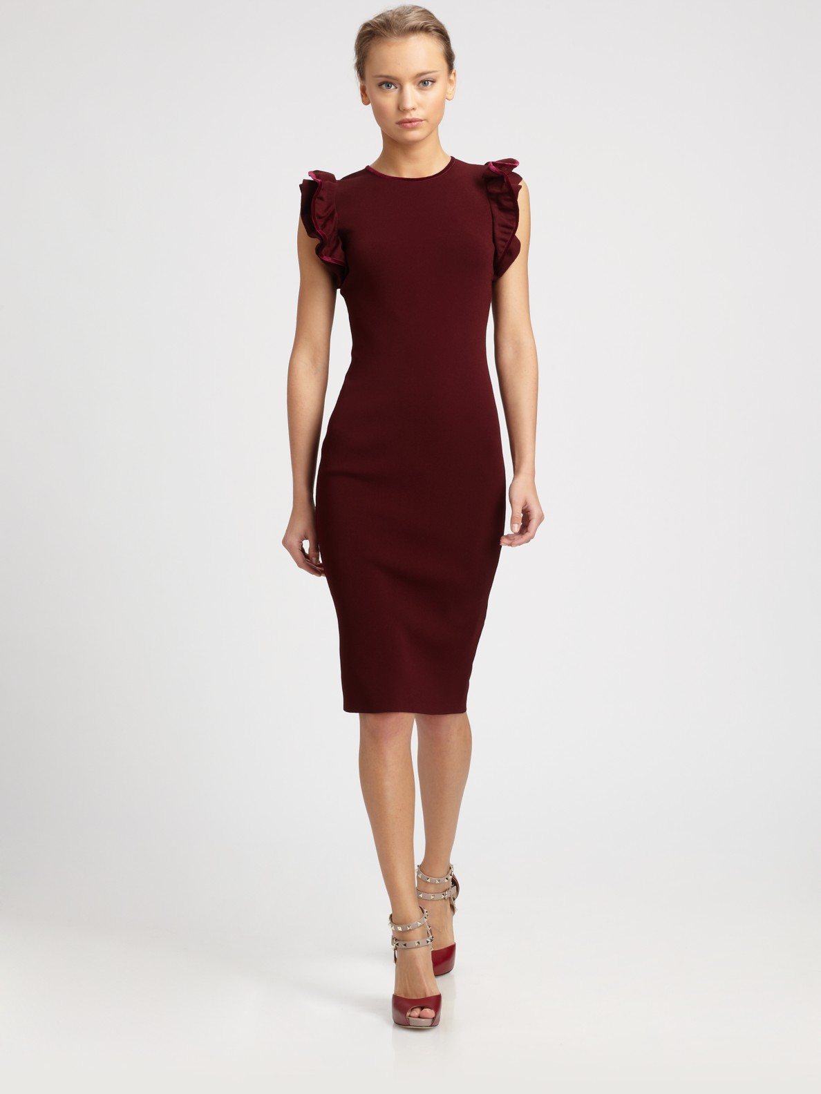 b6c195389c3 Lyst - Valentino Ruffle Sleeve Dress in Red