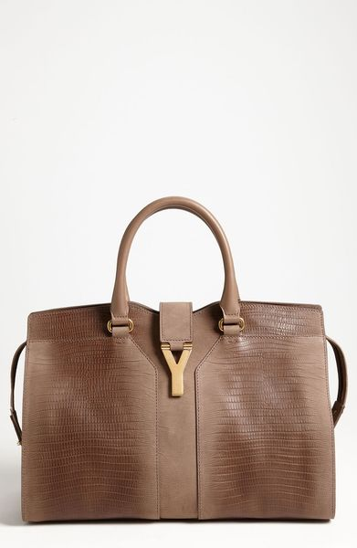 Yves Saint Laurent Cabas Chyc Medium Genuine Tejus Leather Satchel in Beige (dove beige) - Lyst