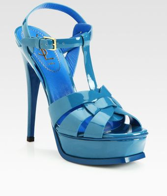 Yves Saint Laurent  Patent Leather Platform Sandals - Lyst