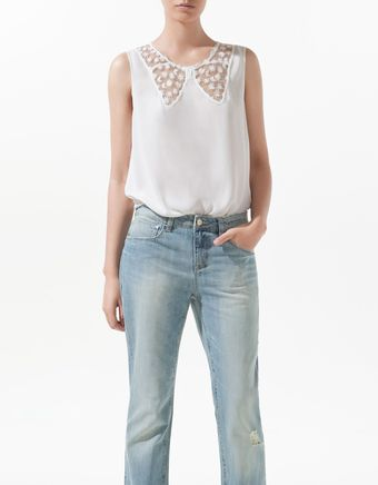 Zara Lace Blouse with Bow Neckline - Lyst