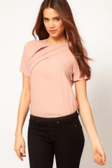 ASOS Collection Asos Blouse With Diagonal Pleats - Lyst