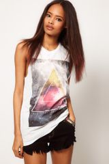 Asos Collection Asos Tshirt With Textured Triangle in White - Lyst