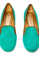 Avec Moderation Mare Calf Hair Dress Slippers in Green - Lyst