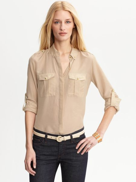 Banana Republic Heritage Cotton Silk Military Shirt in Beige (sea fan)