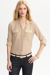 Banana Republic Heritage Cotton Silk Military Shirt in Beige (sea fan) - Lyst