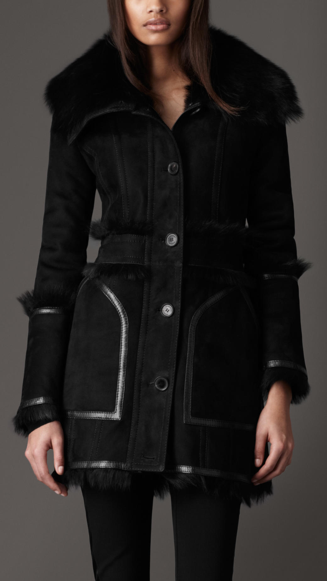 Burberry Funnel Collar Shearling Coat in Black | Lyst