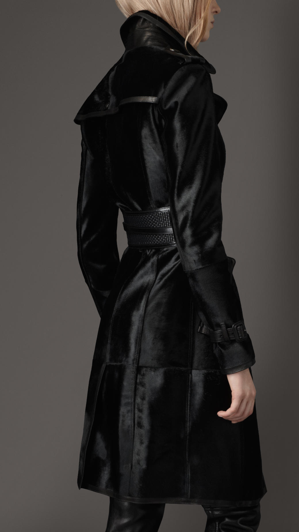 Lyst Burberry Long Leather Trench Coat In Black