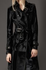 Burberry Long Leather Trench Coat in Black - Lyst
