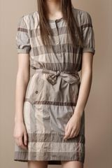 Burberry Brit Check Stretch Cotton Dress - Lyst