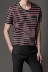 Burberry Striped Cotton Jersey Tshirt - Lyst