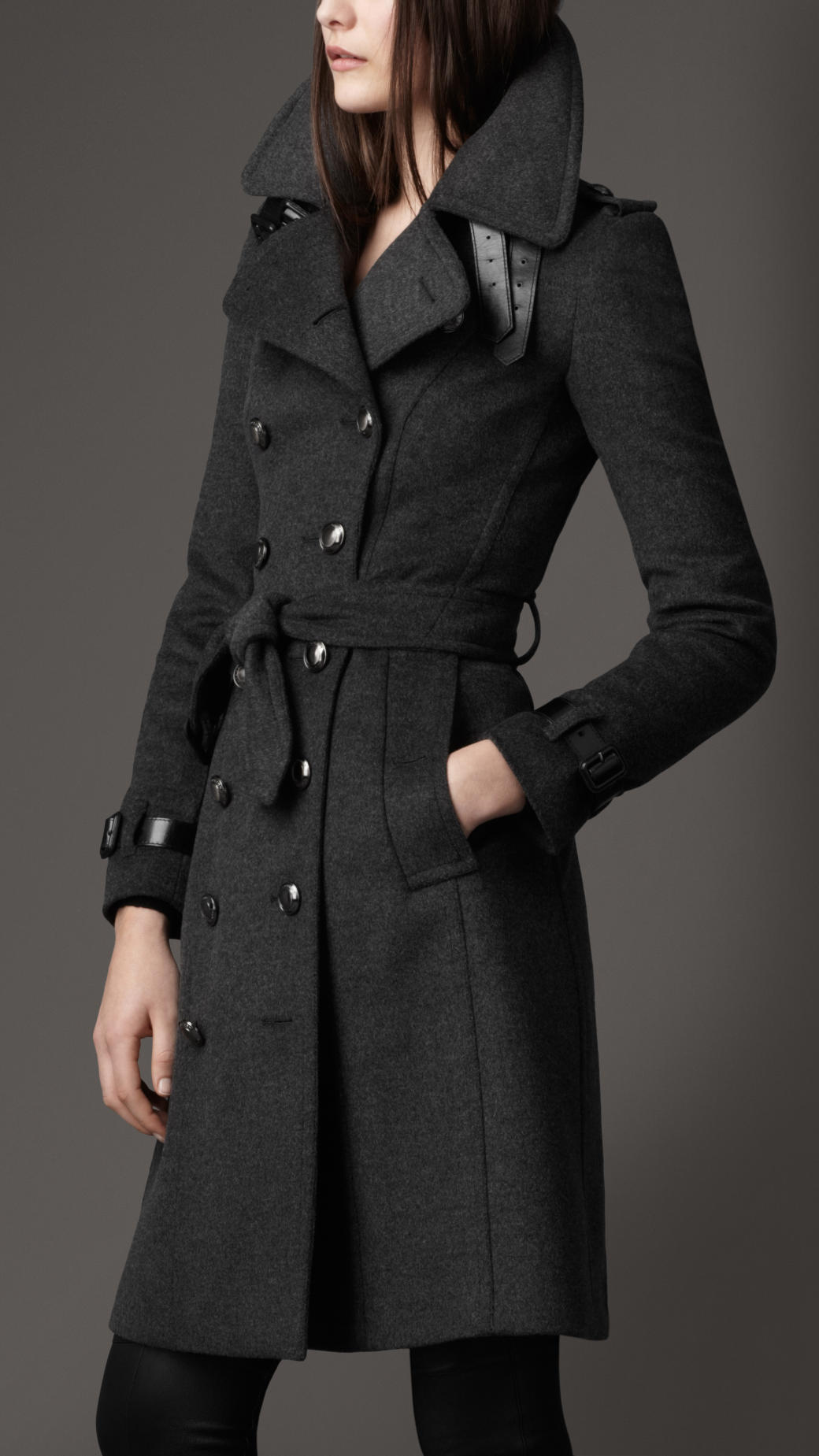 lyst burberry long wool and cashmere blend trench coat in gray. Black Bedroom Furniture Sets. Home Design Ideas