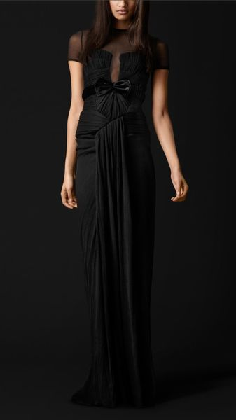 Burberry Prorsum Sheer Detail Silk Evening Dress - Lyst